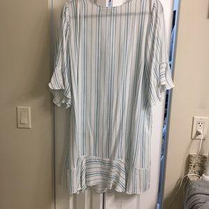 Amiani linen/cotton blend white/blue loose dress